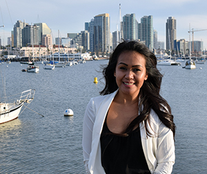 Epic Limousines office manager Mary Un San Diego skyline