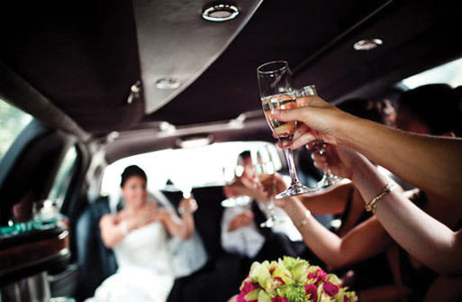Limousine with passengers from wedding