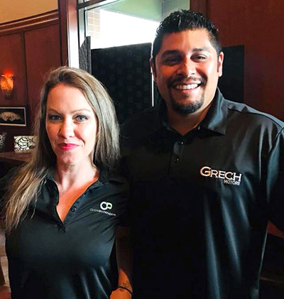 Sarah McKee of Chosen Payments and Rene Martinez of Grech Motors